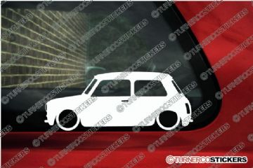 2x LOW Original Classic Morris / austin Mini Cooper S Outline silhouette stickers, decals (3)
